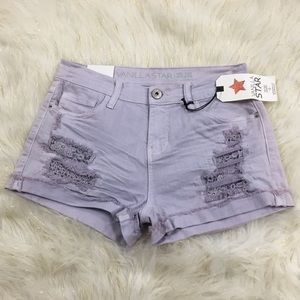 Nwt's Vanilla Star Mid Rise Shortie Purple Shorts